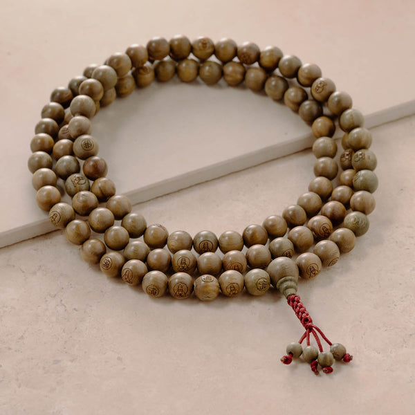 Green Sandalwood Kuan Yin Mala, 108 beads