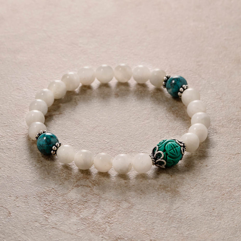 Moonstone Mala with Turquoise, stretchy wrist bracelet