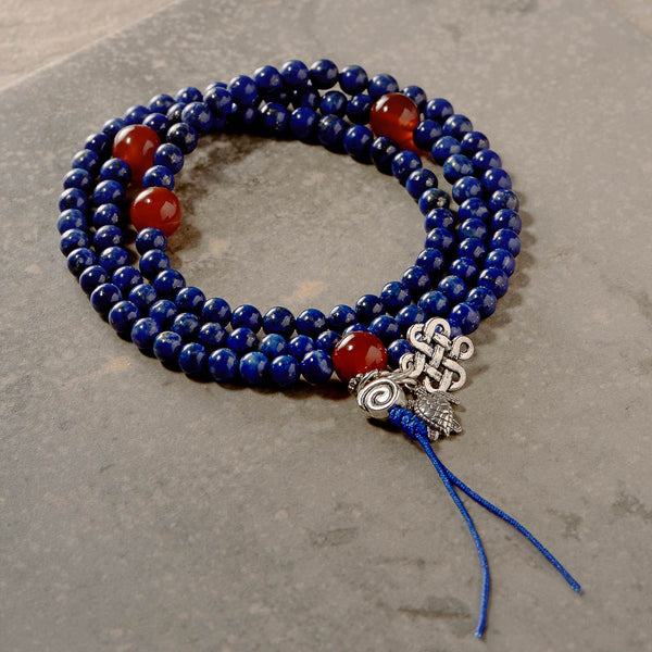 Stretchy Lapis Mala with Carnelian Markers