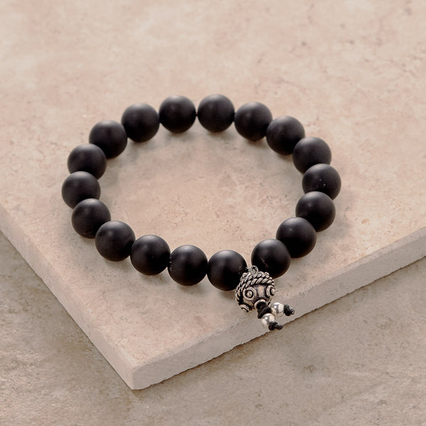 Matte Black Onyx Stretchy Yoga Bracelet