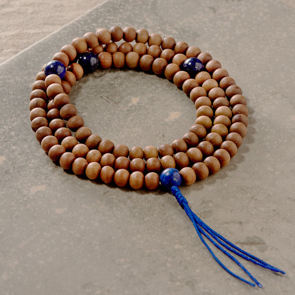 Sandalwood and Lapis Mala, 108 beads