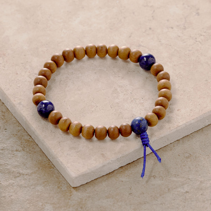 Sandalwood and Lapis Mala, stretchy