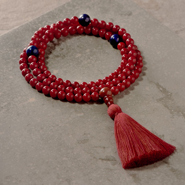 Red Coral and Lapis Mala
