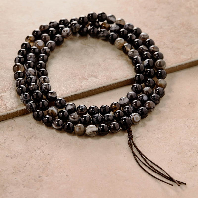 Natural Agate Dzi Mala, 10 mm, 108 beads