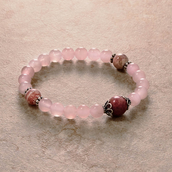 Rose Quartz Mala, stretchy