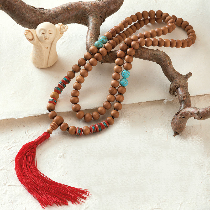 Sandalwood and Yak Bone Healing Mala, 108 beads