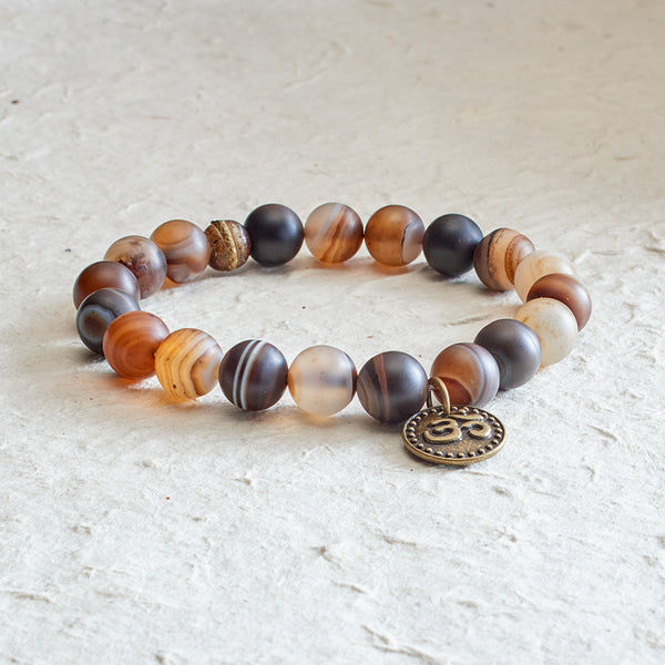 Men's Brazilian Agate Stretchy Mala with OM