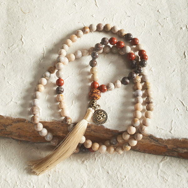 Fossil Coral and Red Jasper Mala, 108 beads