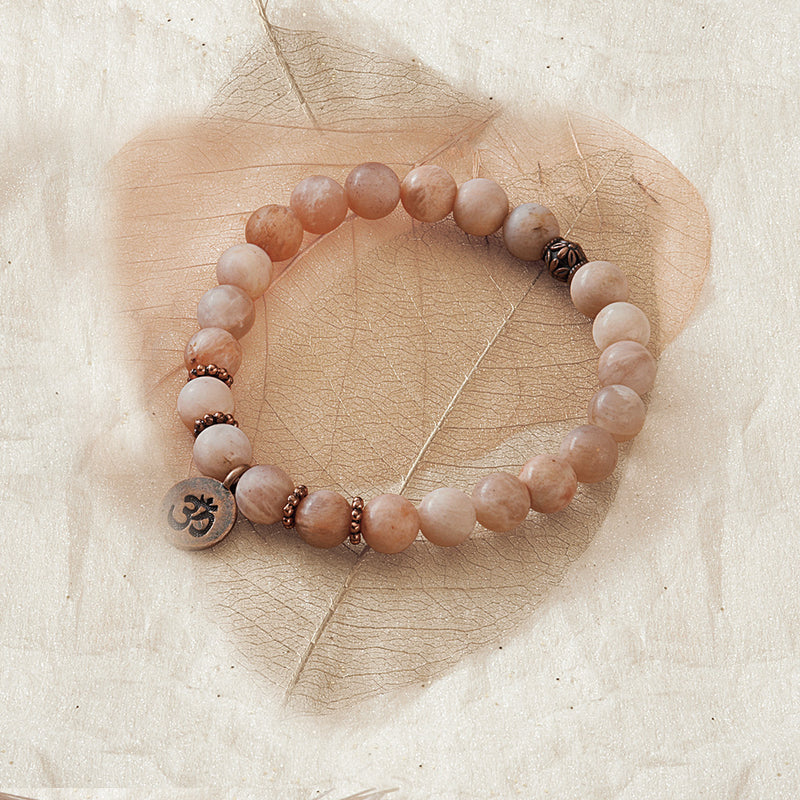 Peach Moonstone Stretchy Mala