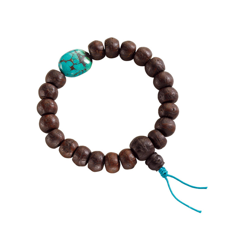 Nepali Bodhi Seed Stretchy Mala with Turquoise Nugget