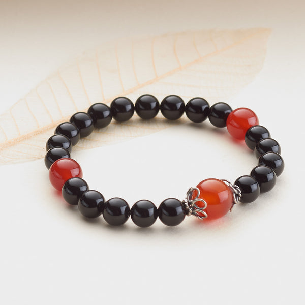 Black Onyx and Carnelian Stretchy Mala, 8mm