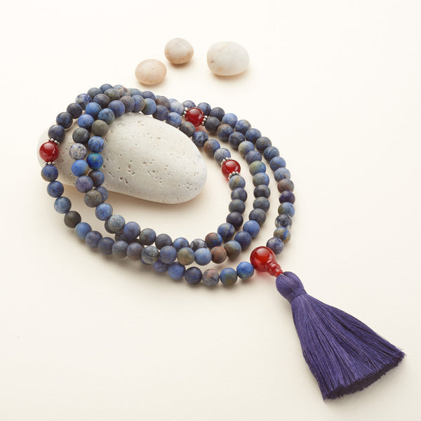 Matte Sunset Dumortierite Mala, 108 beads