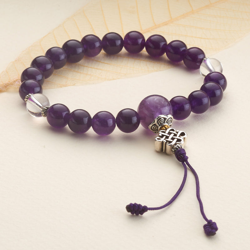 Amethyst with Crystal Stretchy Mala Bracelet