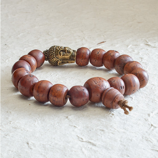 Dark Bodhi Seed Mala with Brass Buddha Bead