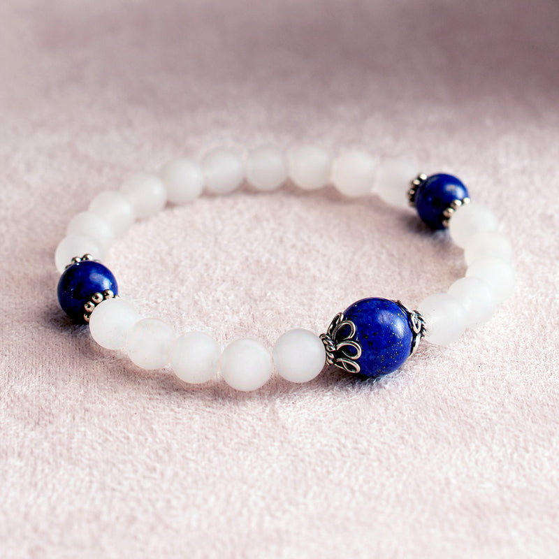 Matte Rock Crystal and Lapis Stretchy Wrist Mala Bracelet