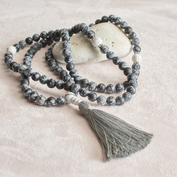 Matte Snowflake Obsidian and Dragon Vein Agate Mala, 108 beads