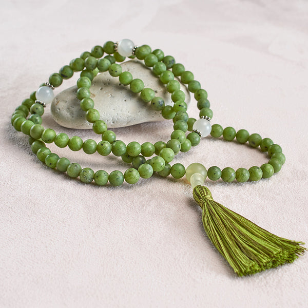 Matte Canadian Jade and Moonstone Mala, 108 beads