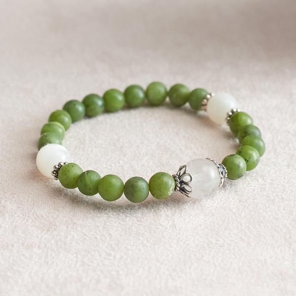 Matte Canadian Jade and Moonstone Stretchy Wrist Mala Bracelet