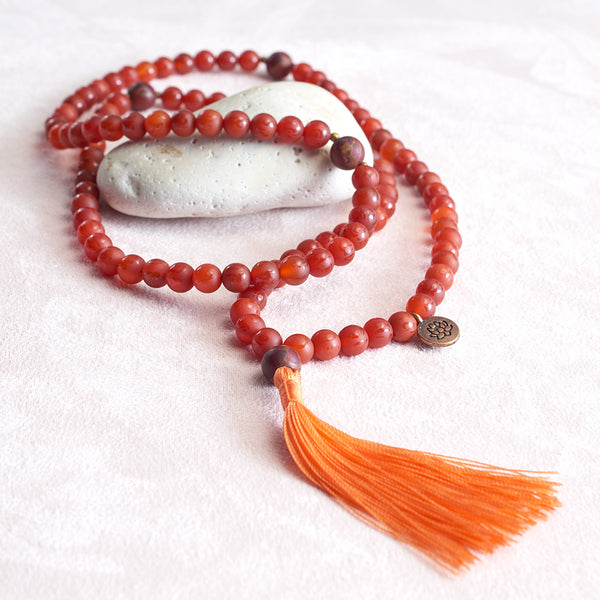 Om Mani Carnelian and Ruby Quartz Mala, 108 bead