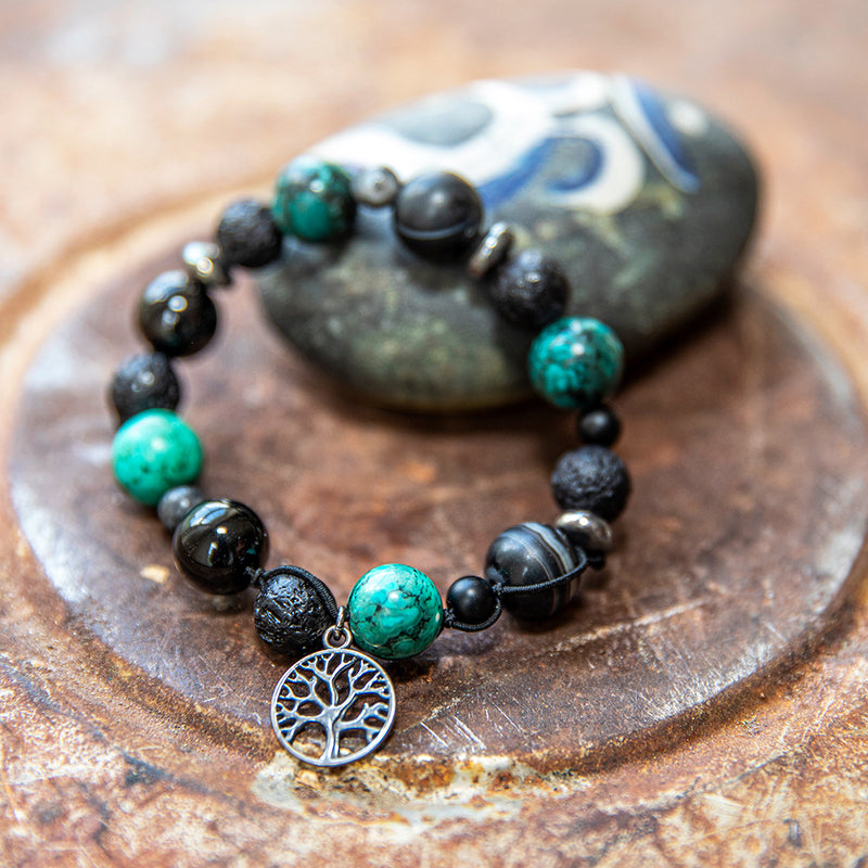 Gemstone Bracelet with Silver Tree of Life Charm
