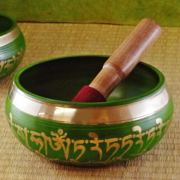 "Green Tara Singing Bowl, 6"" dia."