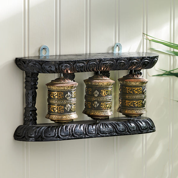 Triple Prayer Wheel with Wood Frame