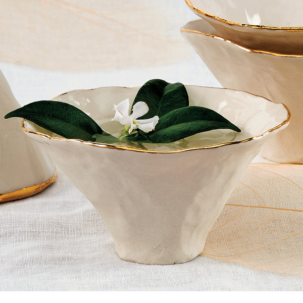 Gold Rimmed Porcelain Incense/Offering Bowl
