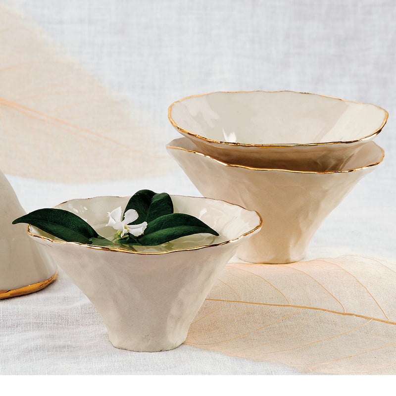 Gold Rimmed Porcelain Incense/Offering Bowls, set of 3