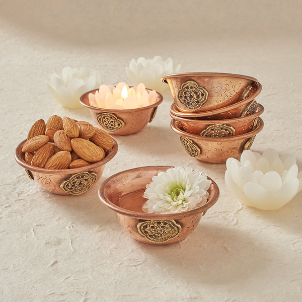 Copper Offering Bowls with Brass Medallions, set of 7
