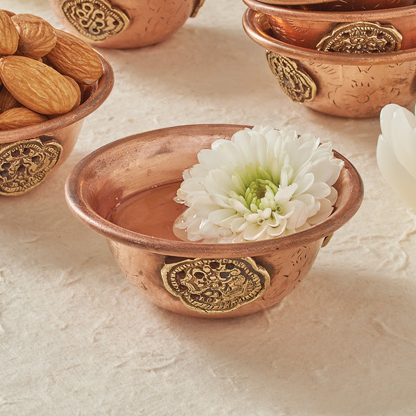 Copper Offering Bowl with Brass Medallion