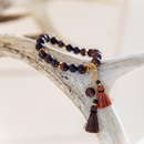 Akha Matte Gemstone and Tassel Bracelet