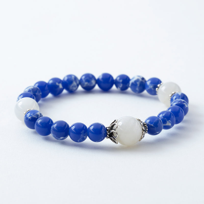 Blue Aqua Terra and Moonstone Stretchy Wrist Bracelet