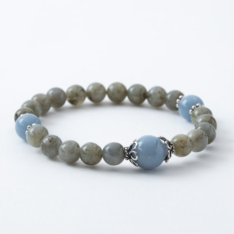 Labradorite and Angelite Stretchy Mala Bracelet