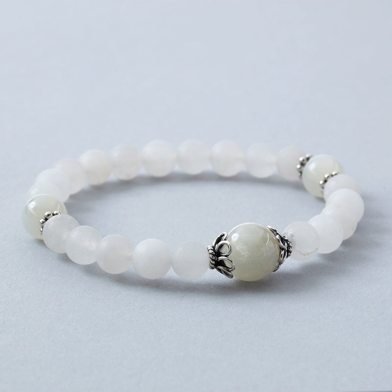 Matte Rock Crystal w/ Moonstone Stretchy Bracelet