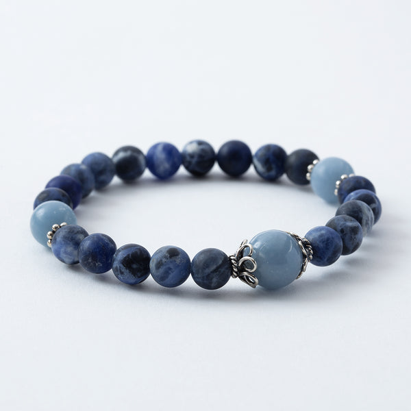 Matte Sodalite and Angelite Stretchy Mala Bracelet
