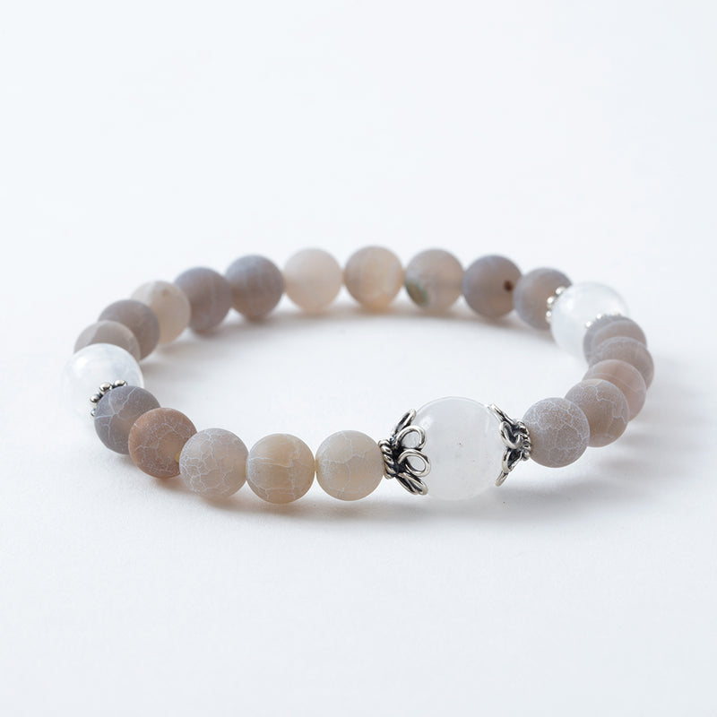Frosted Light Gray Agate and Selenite Stretchy Mala Bracelet