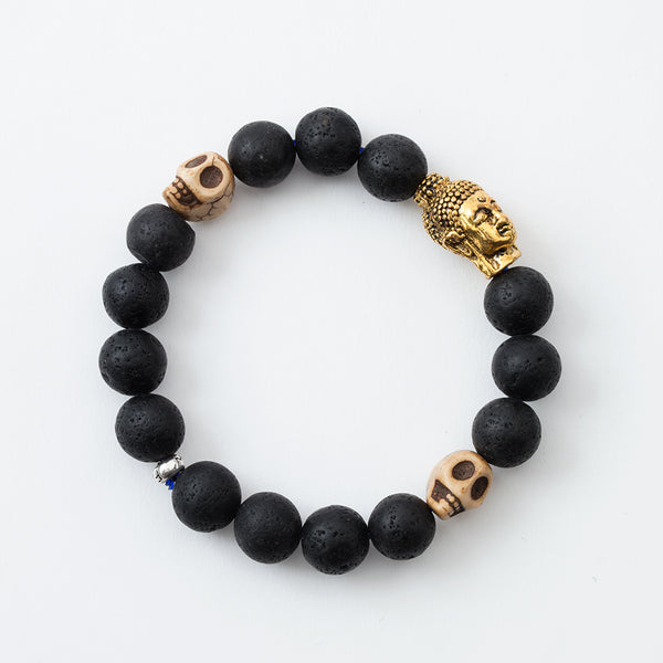 Lava Stone and Buddha Head Stretchy Bracelet