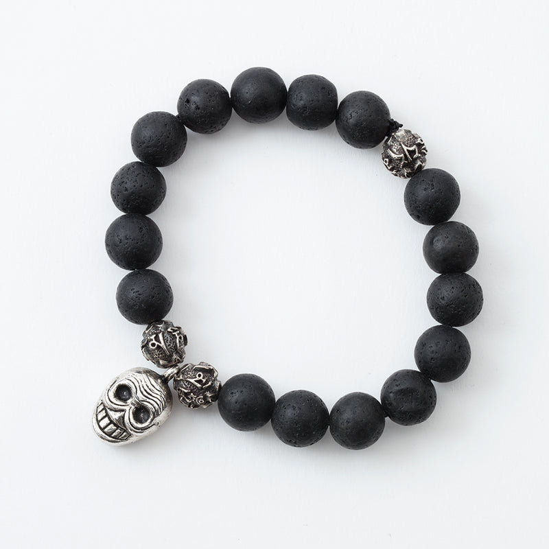 Lava Stone and Compassion Mantra Stretchy Bracelet