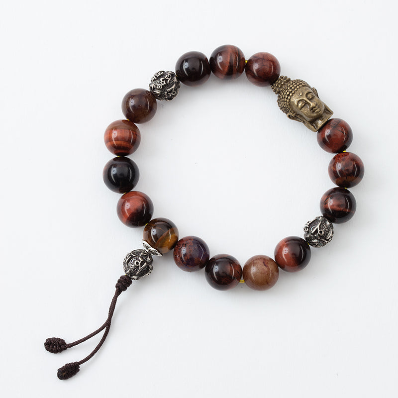 Red Tiger's Eye with Buddha Head Stretchy Bracelet