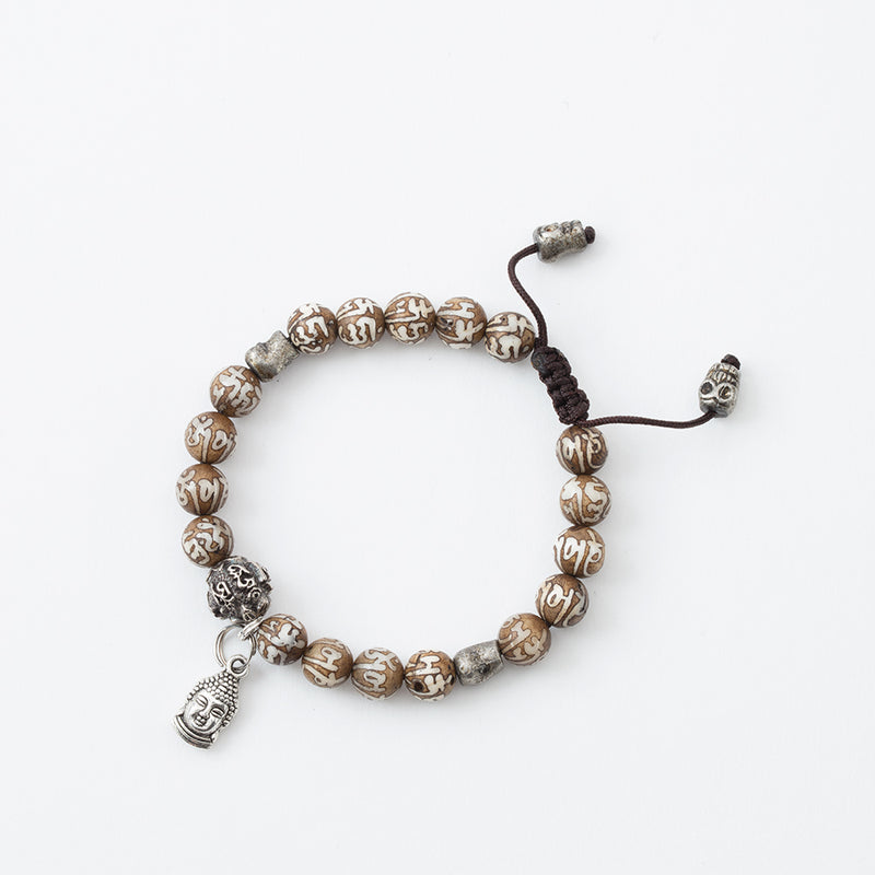 Compassion Mantra with Buddha Head and Skull Adjustable Bracelet