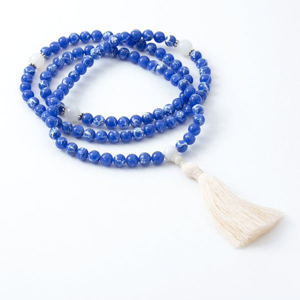 Mother of Pearl and Blue Aqua Terra Mala, 108 Bead
