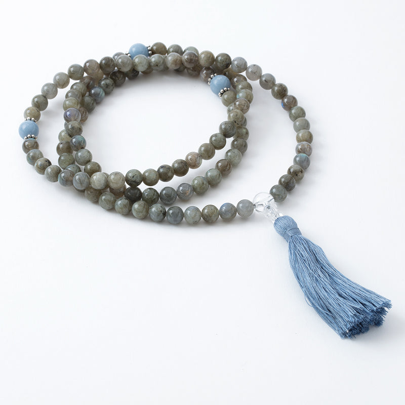 Labradorite and Angelite Mala, 108 beads