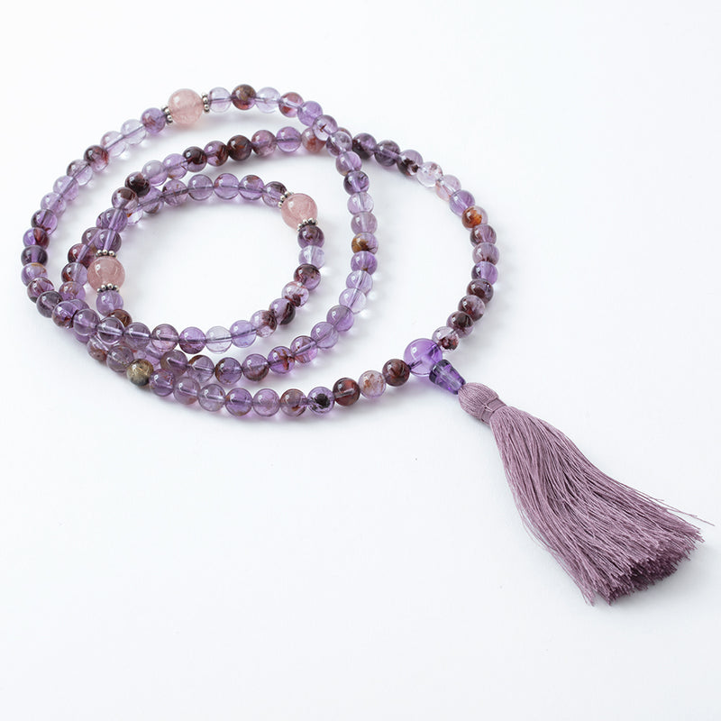 Super Seven and Strawberry Quartz Mala, 108 beads