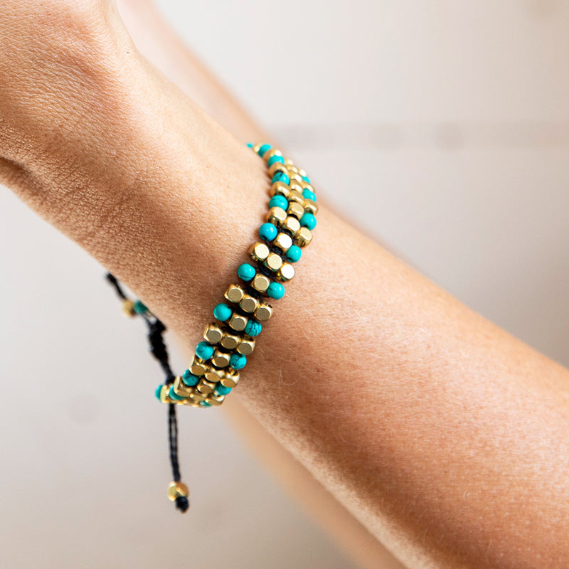 Turquoise and Brass Bead Bracelet