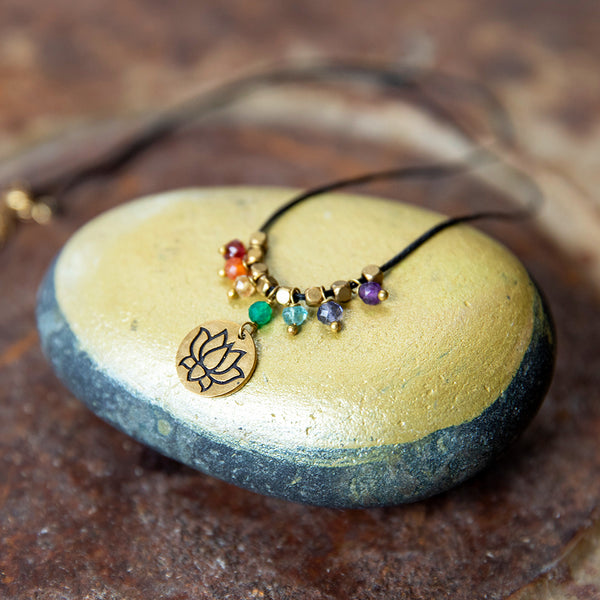 Beaded Chakra Necklace with Lotus Pendant