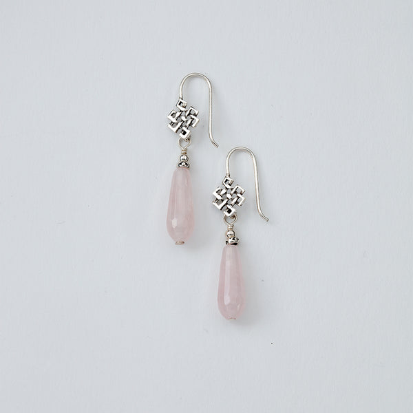 Rose Quartz Eternal Knot Earrings