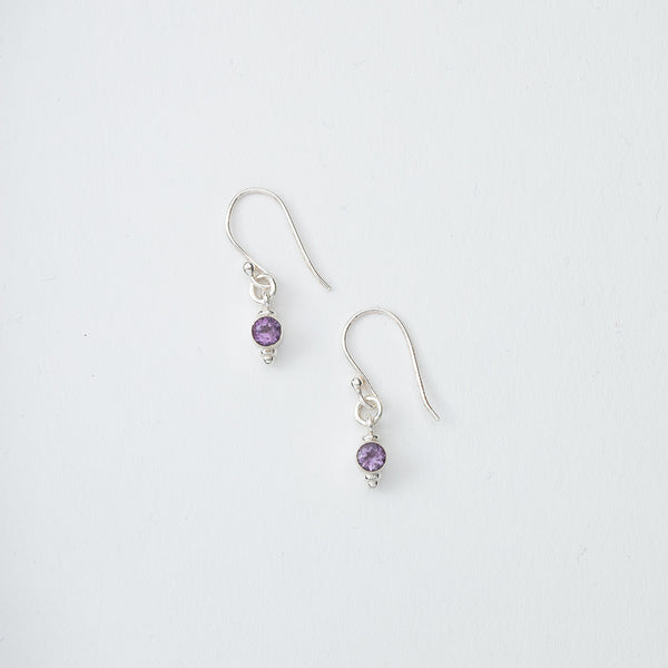 Small Purple Gem Dangle Earrings