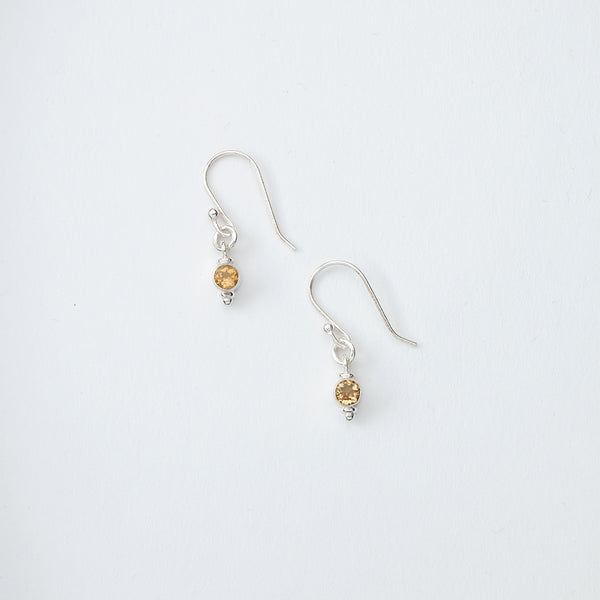 Small Yellow Gem Dangle Earrings