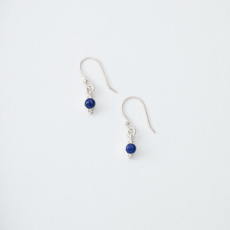 Small Blue Stone Dangle Earrings