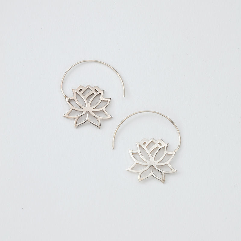 Lotus Flower Threader Earrings